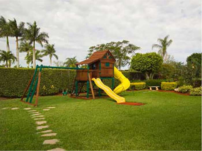 swing n slide play-set in garden